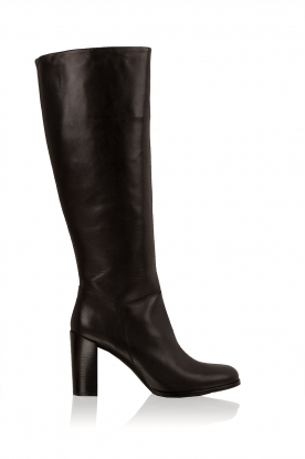 Maluo |  Leather knee boot Bianca | black