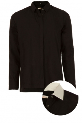 Aaiko |  Blouse with removable collar Lauren | black