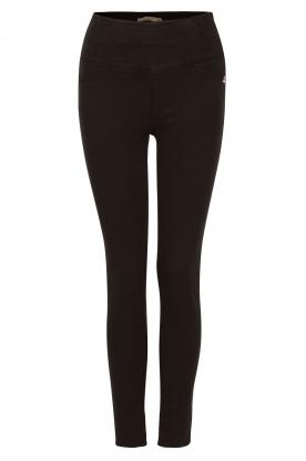 High-waist slim fit 5 pocket broek Gabardine | zwart