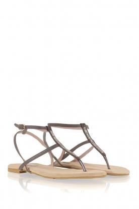 Maluo | Leren sandalen Marie | grijs