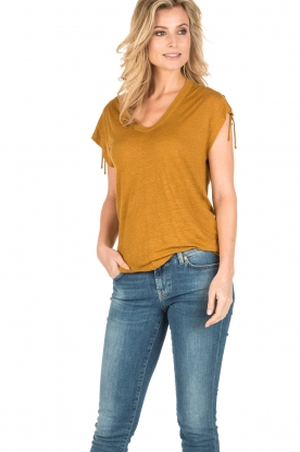 IRO | Linnen lace-up top Ibex | camel