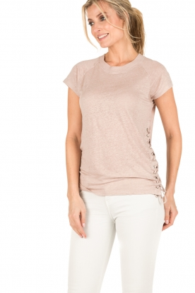 IRO | Linnen lace-up top Irys | roze