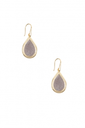 Close to Zen |   22ct plated earrings Little Tears of Joy small | grey