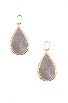 Close to Zen |   22ct plated earrings Little Tears of Joy big | grey