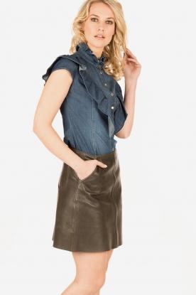 ELISABETTA FRANCHI | Mouwloze denim blouse Pien | blauw