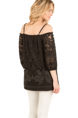Ana Alcazar | Kanten blouse Loey | zwart