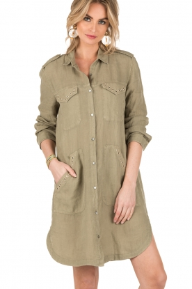 MASONS | Linnen blousejurk Azeilia | legergroen