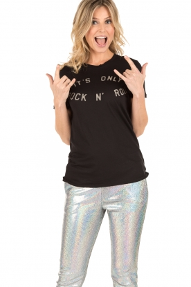 Zoe Karssen | T-shirt Rock and Roll | zwart