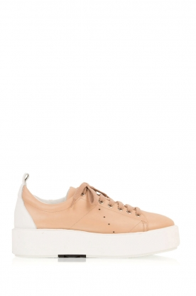 Morobé |  Leather platform sneakers Cannes | light brown