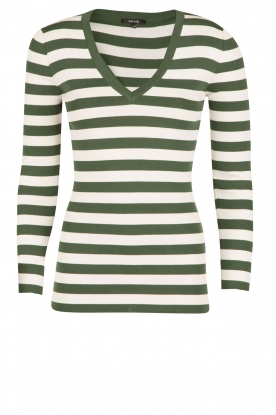 NIKKIE |  Top Jolie V-neck | green/white