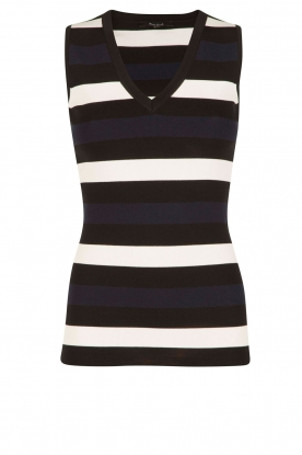 NIKKIE |   Top Jolie V-neck | dark blue/white/black