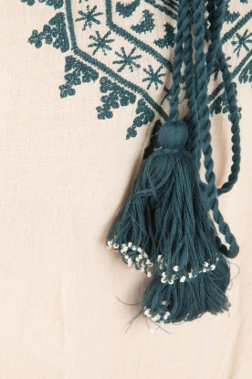 Star Mela | Geborduurde jurk Smiti | naturel
