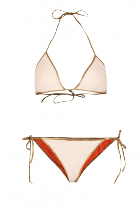Tooshie |  Reversible triangle bikini Hampton | beige/orange