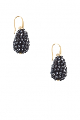 Miccy's | Oorbellen Crystal Drops Small | donker blauw