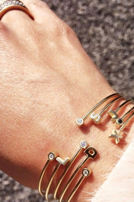 Just Franky |  14k golden bracelet 2 Diamonds | gold