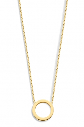 Just Franky |  14k golden necklace Open circle | yellow gold