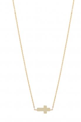 Just Franky | 14k gouden ketting Cross | goud