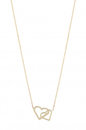 Just Franky |  14kt golden necklace Double Hearts | gold