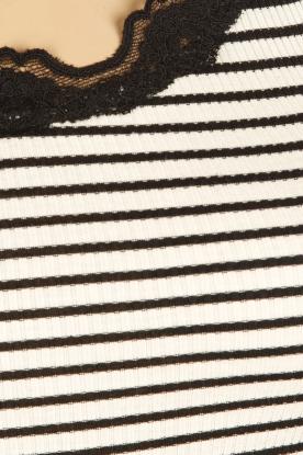 Rosemunde | Zijden strepentop Babette | zwartwit
