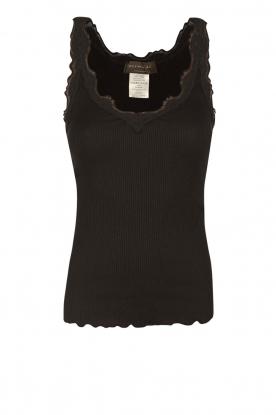Rosemunde | Zijden V-hals top Babette | zwart