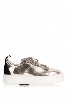 Morobé |  Leather platform sneakers Cannes | silver