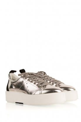 Morobé | Leren platform sneaker Cannes | zilver