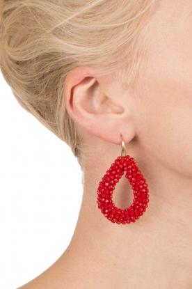 Miccy's | Oorbellen Open Crystal drops | rood