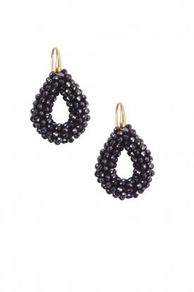 Miccy's | Oorbellen Open Crystal drops small | zwart