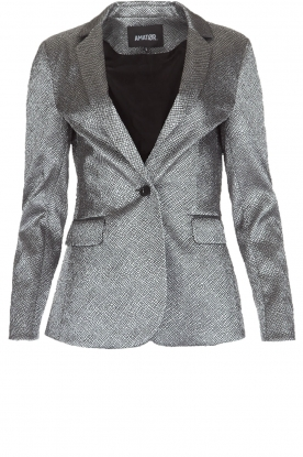 Amatør | Metallic blazer Metal Shine | zilver