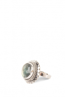 Close to Zen | 925 sterling zilveren ring Blossom Labradorite | groen