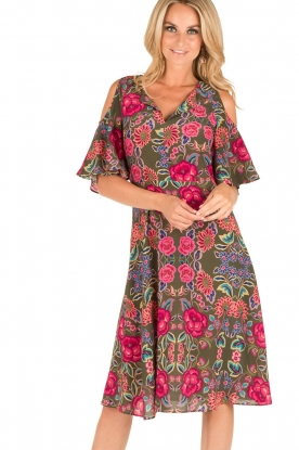Set | Zijden jurk Flower | groen