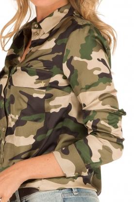 Set | Blouse met legerprint Ashley | groen