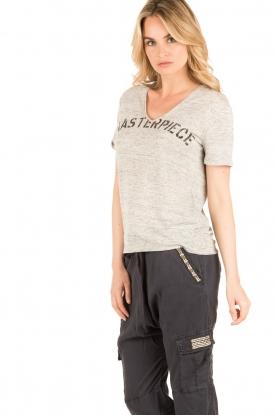 IKKS | Linnen T-shirt V-hals Masterpiece | grijs