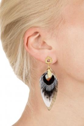 Gas Bijoux | Vergulden oorbellen Sao | zwart