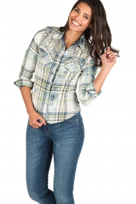 Dishe Jeans | Geruite blouse Stacey | groen