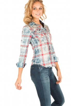 Dishe Jeans | Geruite blouse Stacey | blauw