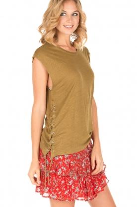 IRO | Linnen T-shirt met lace-up Avys | kakigroen