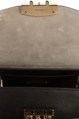 Furla | Leren schoudertas met verwisselbare klep Metropolis Mini | zwart