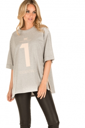 ELISABETTA FRANCHI   Oversized T-shirt Grigio Melange   grijs