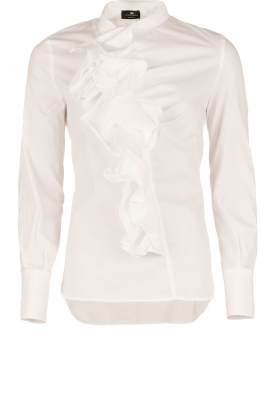 ELISABETTA FRANCHI | Blouse met ruffles Bianco | wit