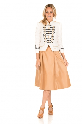 ELISABETTA FRANCHI |  Faux leather skirt Piega | camel