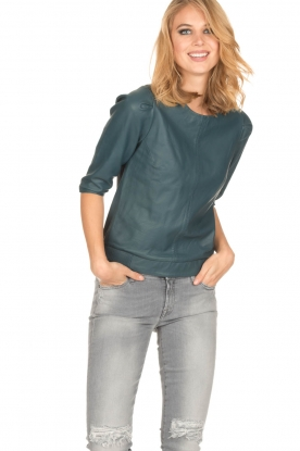 Ruby Tuesday | Leren top Kara | blauw