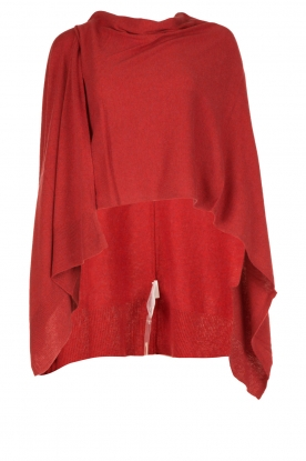 Knit-ted |  Wrap poncho Tara | red