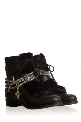 NIKKIE | Leren biker boots Delfina | zwart