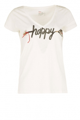 Leon & Harper |  Organic cotton T-shirt Happy | white