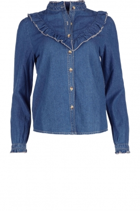 Leon & Harper |  Denim blouse with ruffles Cognac | blue