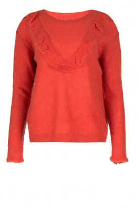 Leon & Harper |  Fine knitted sweater with ruffles Madeleine | red