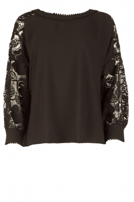 Essentiel Antwerp |  Top with lace Oxysalt | black