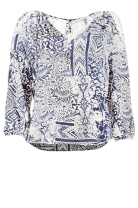Alice & Trixie |  Zijden top Cooper | blue/white
