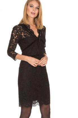 Set | Kanten jurk Feline | zwart